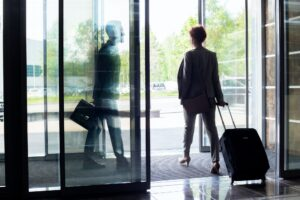 People Leaving Hotel