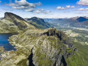 Mountains and waterfall near Hemsedal in Norway