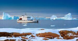 A tourist icebreaker moored off the northwest coast of the Svalbard Islands (Spitsbergen) in the
