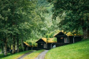 Traditional Norwegian Old Wooden Houses With Growing Grass On Roof. Cabins In Norway