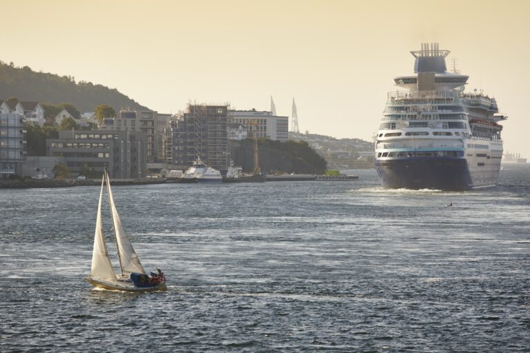 Cruise and yacht sail. Stavanger harbor. Norway. Navigation background. Atlantic