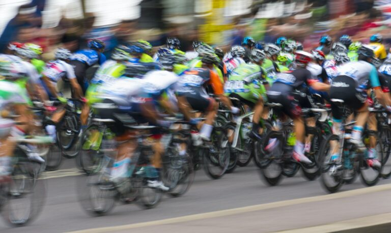 Motion blur of bikers competing in the Tour de Britain