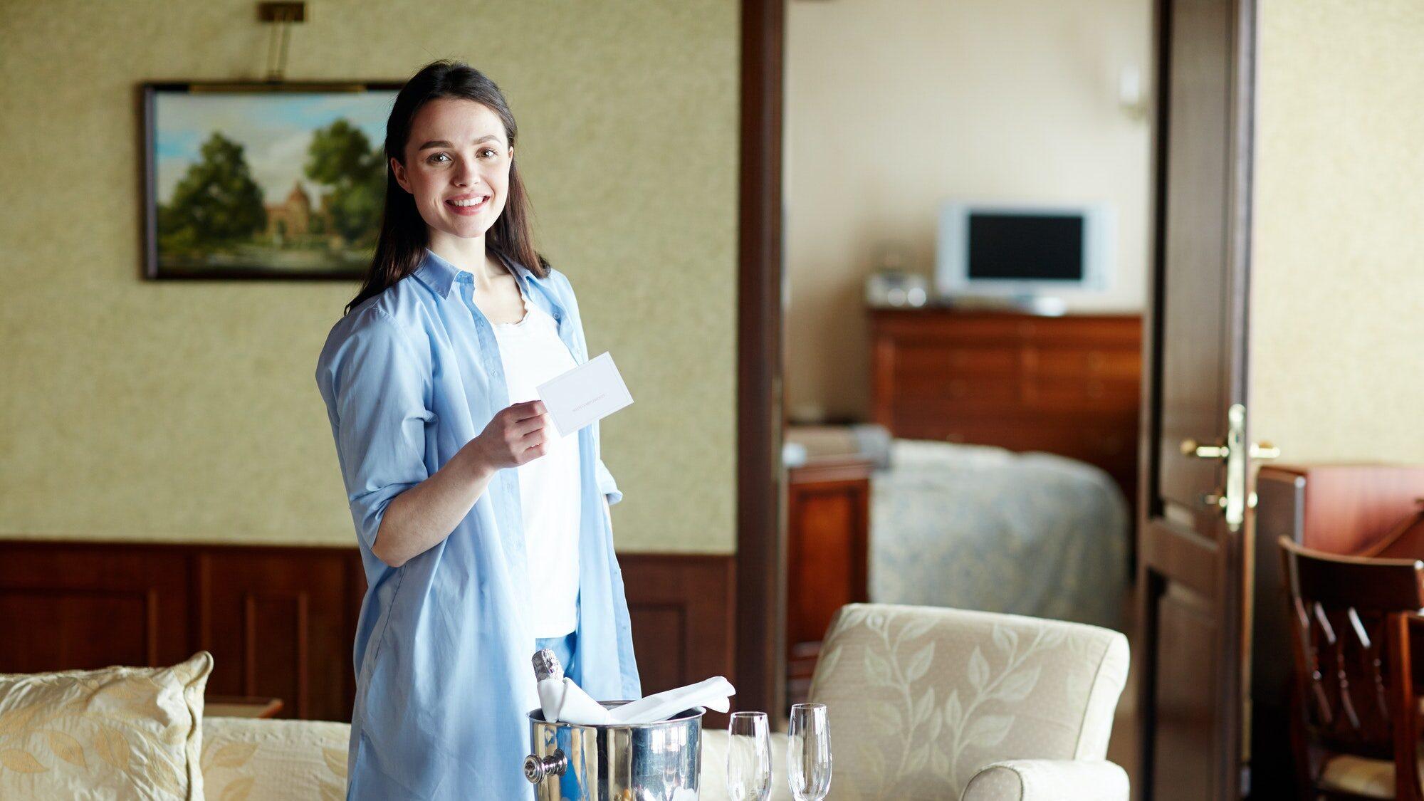 Traveler in hotel